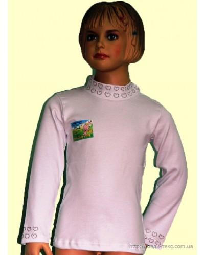 Водолазка «Девочка» белая со стразами   2-080