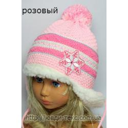 """Шапка +шарфик \""""Снежинка мех\"""" 15-012"""